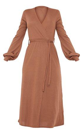 Chocolate Rib Tie Waist Long Sleeve Maxi Dress | PrettyLittleThing USA