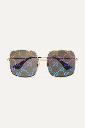 Black Logomania square-frame gold-tone sunglasses | Gucci | NET-A-PORTER
