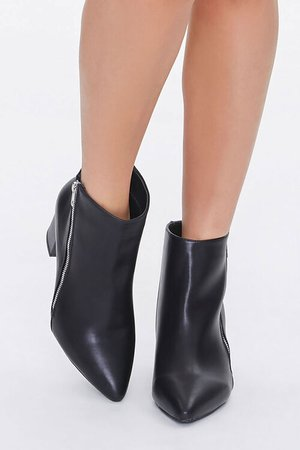 Faux Leather Pointed Toe Booties