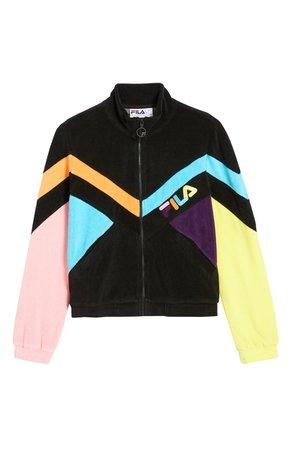 FILA Hadley Colorblock Velour Crop Jacket | black