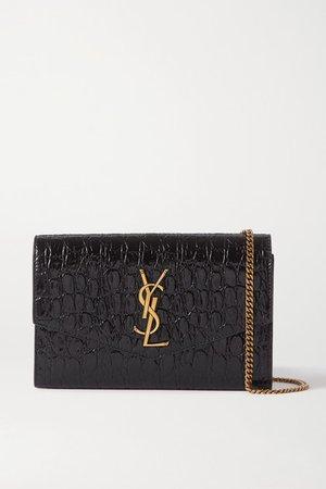 Uptown Croc-effect Patent-leather Shoulder Bag - Black