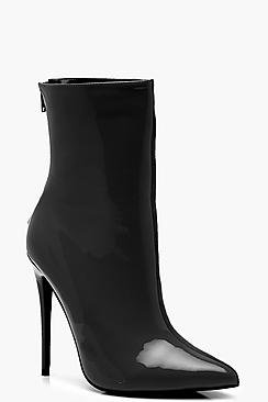 Contrast Fabric Pointed Shoe Boots