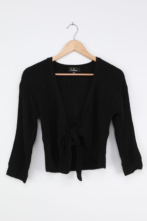 Black Sweater - Tie-Front Sweater - Three-Quarter Sleeve Sweater