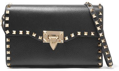 Garavani The Rockstud Textured-leather Shoulder Bag - Black