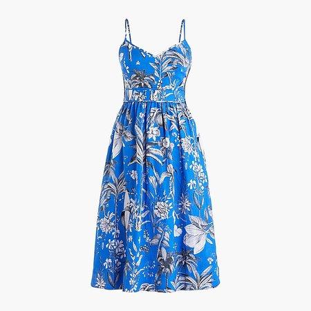 J.Crew: Linen spaghetti-strap tea dress in Ratti® tropical toile blue