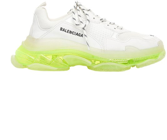 Triple S Clear Sole Sneakers in White & Fluo Yellow | FWRD