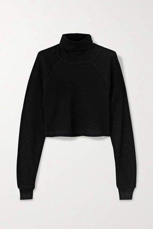 The Range - Cropped Waffle-knit Stretch-cotton Turtleneck Top - Black