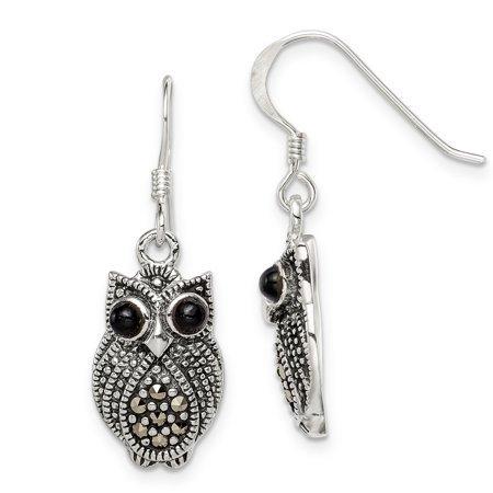 ICE CARATS 925 Sterling Silver Marcasite Black Agate Owl Shepherd Hook Drop Dangle Chandelier Earrings Animal Bird Fine Jewelry Ideal Gifts For Women Gift Set From Heart - Walmart.com