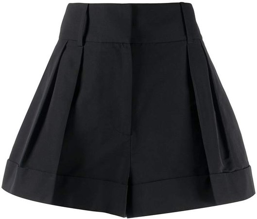 flared pleated short shorts