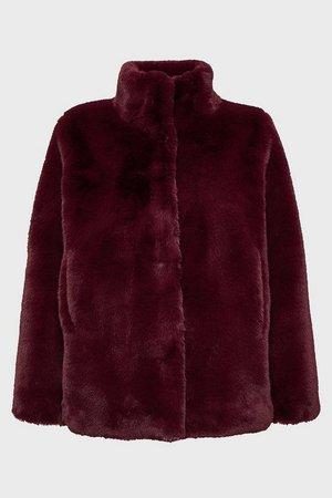 Funnel Neck Faux Fur Jacket | Karen Millen