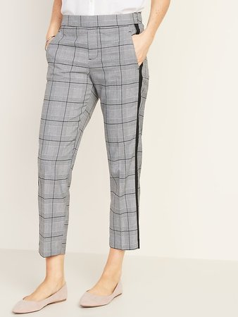 Mid-Rise Plaid Pull-On Straight Pants for Women | Old Navy