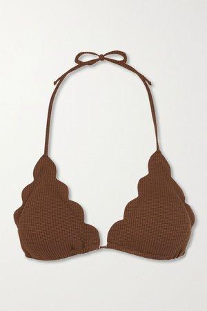 Brown Broadway scalloped stretch-crepe triangle bikini top | Marysia | NET-A-PORTER
