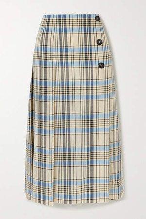 Pleated Checked Wool Midi Skirt - Light blue