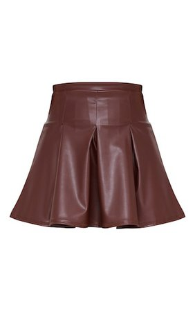 Chocolate Faux Leather Skater Skirt | Skirts | PrettyLittleThing