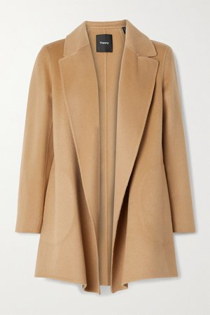 Camel Clairene brushed wool and cashmere-blend coat   Theory   NET-A-PORTER