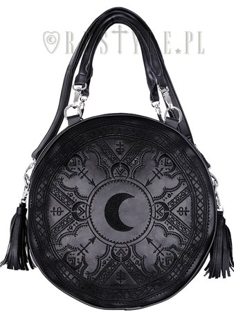 """HENNA BLACK ROUND BAG"" Moon embroidery handbag, witchy purse with moon & tessels 