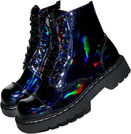 boots shoes aesthetic outfit polyvore holographic punk...