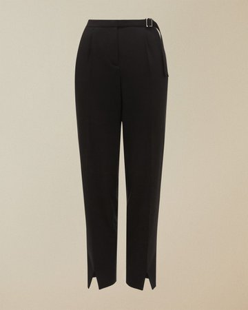 Belt detail tailored trousers - Black   Trousers and Shorts   Ted Baker ROW
