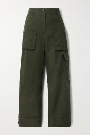 Cropped Canvas Straight-leg Pants - Army green