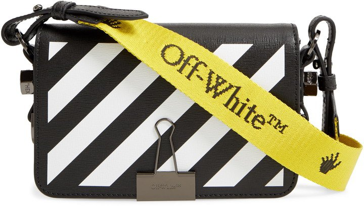 Mini Binder Clip Diagonal Stripe Leather Crossbody Bag