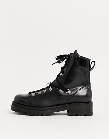 AllSaints Franka leather hiking boots in black | ASOS