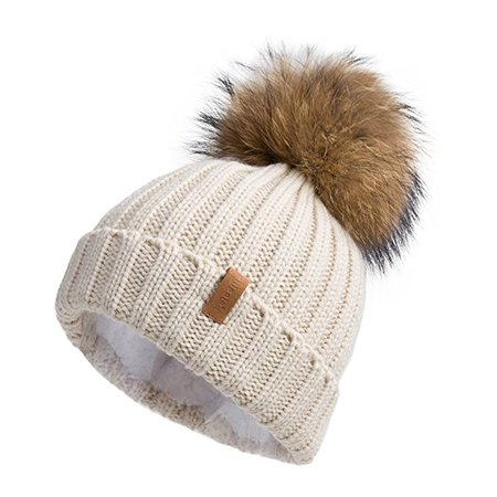 Pilipala Women Knit Winter Turn up Beanie Hat by with Fur Pompom VC17604 Beige Gold Pompom at Amazon Women's Clothing store: