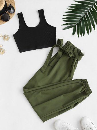 [36% OFF] 2020 Ribbed Cropped Belted Paperbag Pants Set In GREEN | ZAFUL