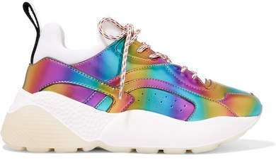 Eclypse Iridescent Faux Leather And Neoprene Sneakers - Purple