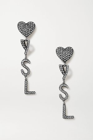 Silver Silver-tone crystal clip earrings | SAINT LAURENT | NET-A-PORTER