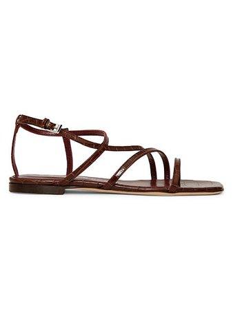 Staud Gitane Croc-Embossed Leather Sandals   SaksFifthAvenue