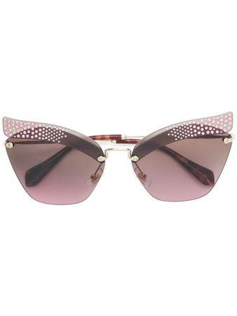 Miu Miu Eyewear Folie Rhinestone Sunglasses SMU56T Metallic | Farfetch