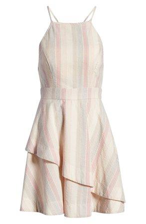 Speechless Pastel Stripe Halter Neck Cotton Blend Minidress | Nordstrom