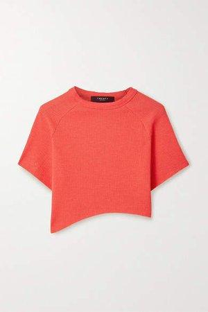 Twenty Montréal TWENTY Montreal - Everest Cropped Asymmetric Waffle-knit Jersey T-shirt - Red