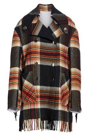 CALVIN KLEIN 205W39NYC x Pendleton Fringe Plaid Blanket Coat | Nordstrom