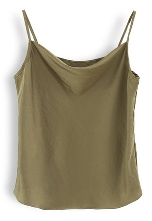 Cowl Neck Satin Cami Top in Army Green - Retro, Indie and Unique Fashion