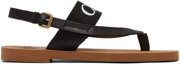 Black Woody Flat Sandals