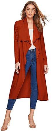 Verdusa Women's Casual Long Sleeve Lapel Outwear Duster Coat Cardigan Rust L at Amazon Women's Clothing store