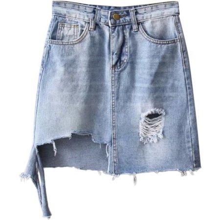Asymmetric Frayed Hem Distressed Denim Skirt Light Blue