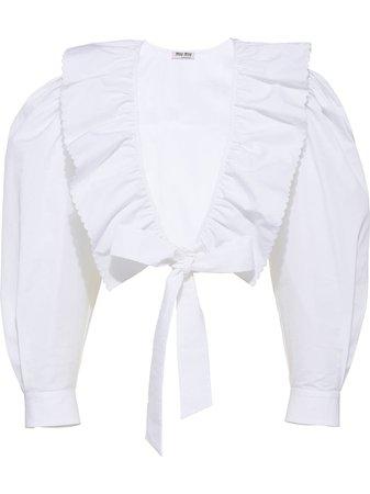 Miu Miu Cropped ruffle-trim Blouse - Farfetch