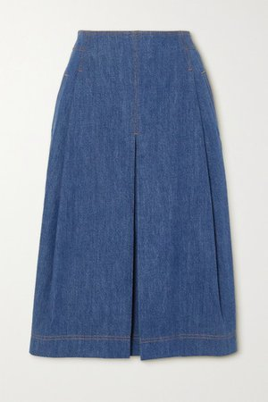 Pleated Organic Denim Midi Skirt - Blue