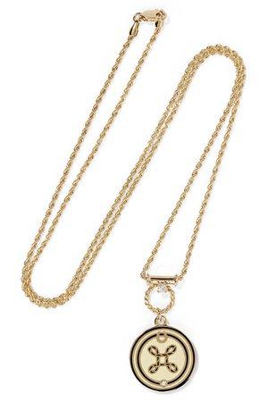 Foundrae | True Love 18-karat gold, diamond and enamel necklace | NET-A-PORTER.COM