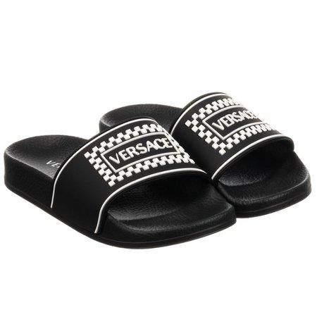 Young Versace - Black & White Logo Sliders | Childrensalon