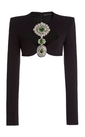 David Koma Crystal-Embroidered Cady Cropped Top