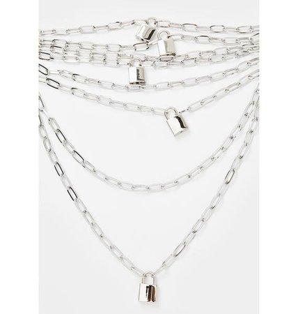 Layered Lock Chain Necklace Silver   Dolls Kill
