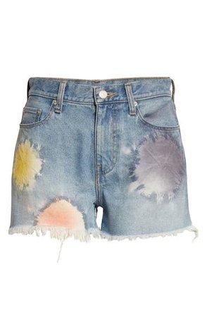 John Elliott High Waist Cutoff Denim Shorts (Shibori Bloom) | Nordstrom