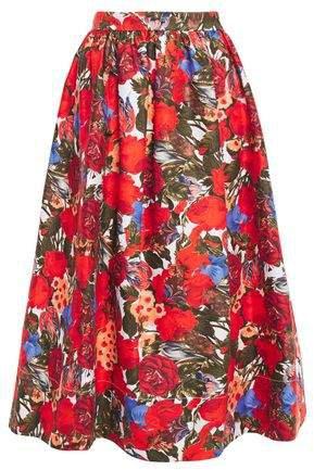 Gathered Floral-print Cotton-gabardine Midi Skirt