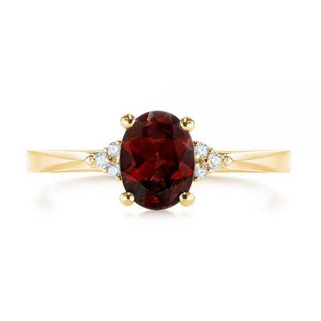 14k Yellow Gold Custom Garnet And Diamond Cluster Engagement Ring #104870 - Seattle Bellevue | Joseph Jewelry