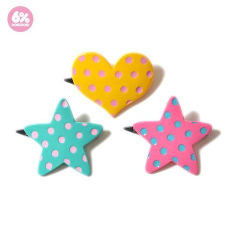 6DOKIDOKI dots plastic clip set
