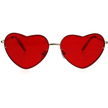 *clipped by @luci-her* Womens Luxury Rimless Flat Panel Valentine Heart Sunglasses