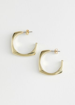 Squared Open Hoop Earrings - Gold - Hoops - & Other Stories